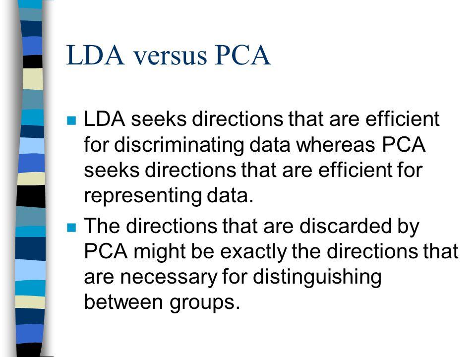 LDA versus PCA n LDA seeks directions that are efficient for discriminating data whereas PCA seeks directions that are efficient for representing data