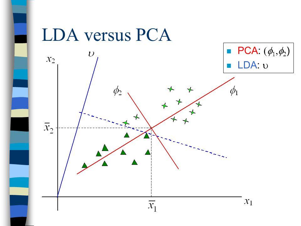 LDA versus PCA PCA:     ) LDA: 
