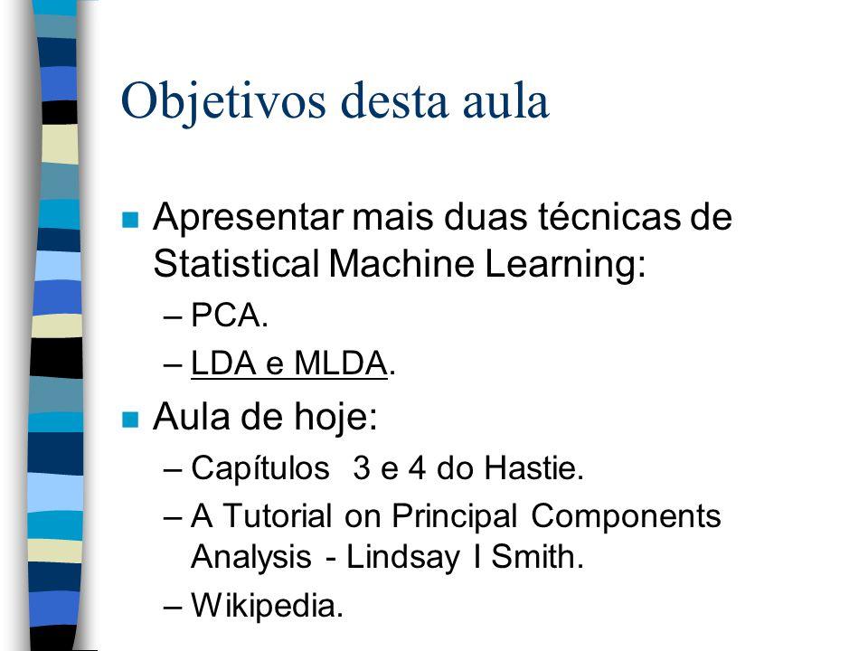 Objetivos desta aula n Apresentar mais duas técnicas de Statistical Machine Learning: –PCA. –LDA e MLDA. n Aula de hoje: –Capítulos 3 e 4 do Hastie. –