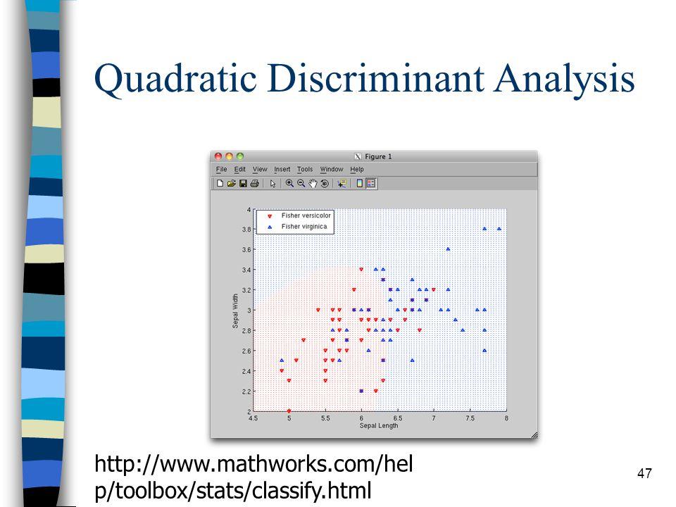 Quadratic Discriminant Analysis 47 http://www.mathworks.com/hel p/toolbox/stats/classify.html