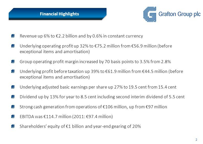2 Financial Highlights Revenue up 6% to €2.2 billion and by 0.6% in constant currency Underlying operating profit up 32% to €75.2 million from €56.9 million (before exceptional items and amortisation) Group operating profit margin increased by 70 basis points to 3.5% from 2.8% Underlying profit before taxation up 39% to €61.9 million from €44.5 million (before exceptional items and amortisation) Underlying adjusted basic earnings per share up 27% to 19.5 cent from 15.4 cent Dividend up by 13% for year to 8.5 cent including second interim dividend of 5.5 cent Strong cash generation from operations of €106 million, up from €97 million EBITDA was €114.7 million (2011: €97.4 million) Shareholders' equity of €1 billion and year-end gearing of 20%