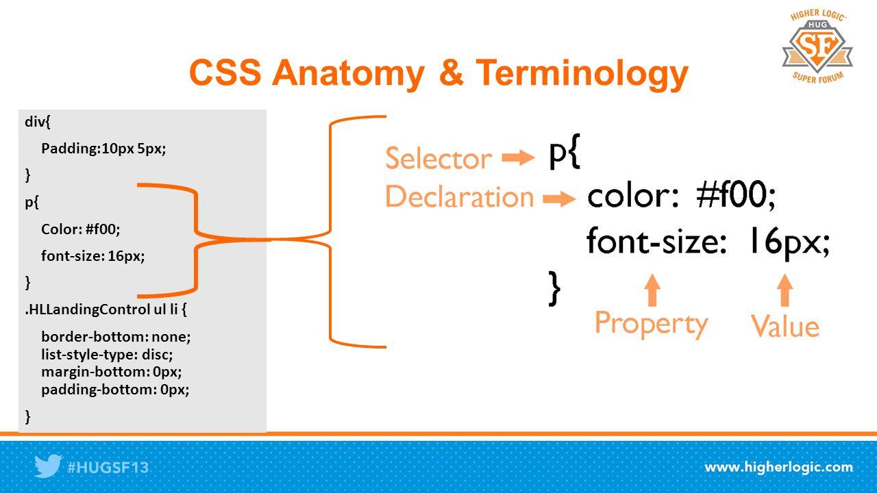 CSS Anatomy & Terminology div{ Padding:10px 5px; } p{ Color: #f00; font-size: 16px; }.HLLandingControl ul li { border-bottom: none; list-style-type: disc; margin-bottom: 0px; padding-bottom: 0px; }