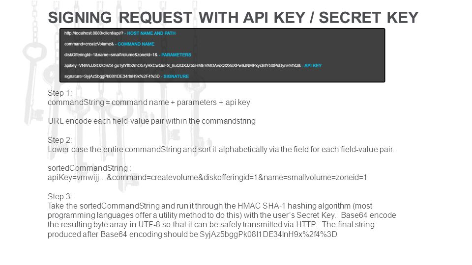 SIGNING REQUEST WITH API KEY / SECRET KEY Step 1: commandString = command name + parameters + api key URL encode each field-value pair within the commandstring Step 2: Lower case the entire commandString and sort it alphabetically via the field for each field-value pair.