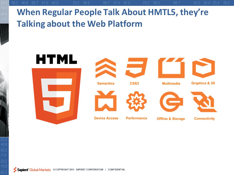25 © COPYRIGHT 2011 SAPIENT CORPORATION | CONFIDENTIAL When Regular People Talk About HMTL5, they're Talking about the Web Platform