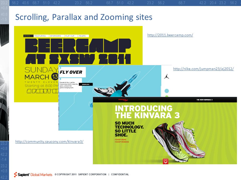 32 © COPYRIGHT 2011 SAPIENT CORPORATION | CONFIDENTIAL Scrolling, Parallax and Zooming sites http://2011.beercamp.com/ http://nike.com/jumpman23/aj2012/ http://community.saucony.com/kinvara3/
