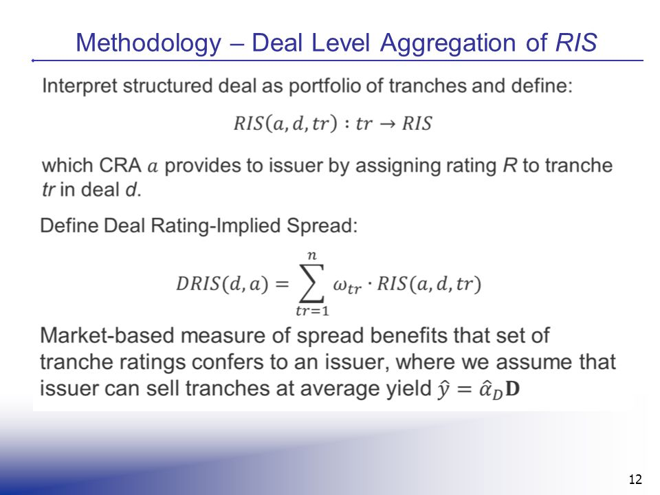 12 Methodology – Deal Level Aggregation of RIS