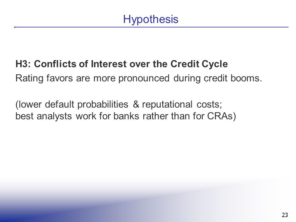 23 Hypothesis H3: Conflicts of Interest over the Credit Cycle Rating favors are more pronounced during credit booms. (lower default probabilities & re
