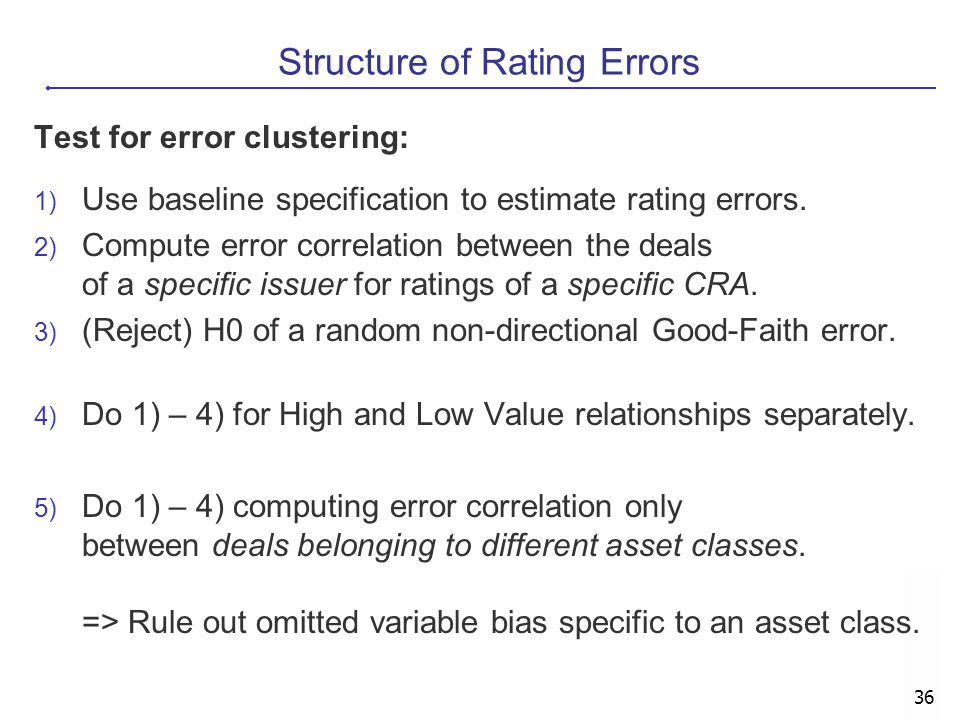 36 Structure of Rating Errors Test for error clustering: 1) Use baseline specification to estimate rating errors. 2) Compute error correlation between