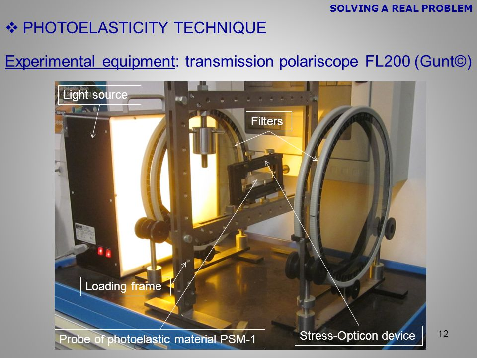 12  PHOTOELASTICITY TECHNIQUE Experimental equipment: transmission polariscope FL200 (Gunt©) Light source Filters Loading frame Stress-Opticon device Probe of photoelastic material PSM-1 SOLVING A REAL PROBLEM