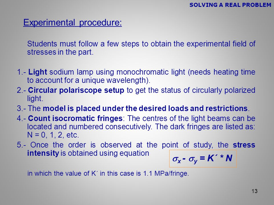 13 Experimental procedure: Students must follow a few steps to obtain the experimental field of stresses in the part.