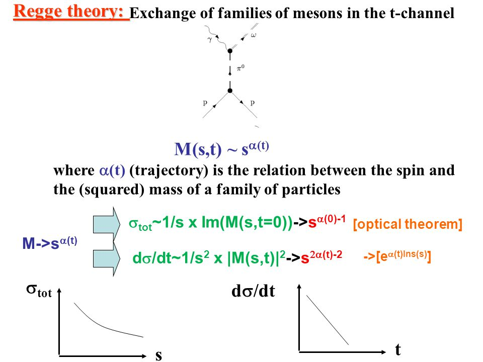 Regge theory: Exchange of families of mesons in the t-channel M(s,t) ~ s  (t) where  (t) (trajectory) is the relation between the spin and the (squa