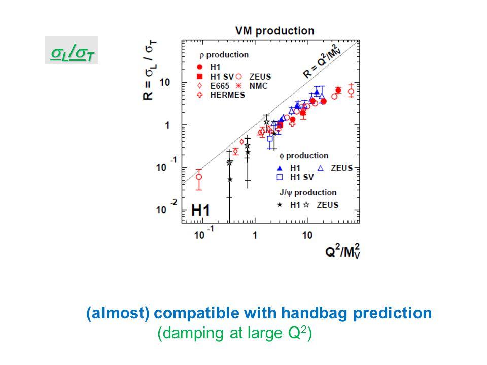 L/TL/TL/TL/T (almost) compatible with handbag prediction (damping at large Q 2 )