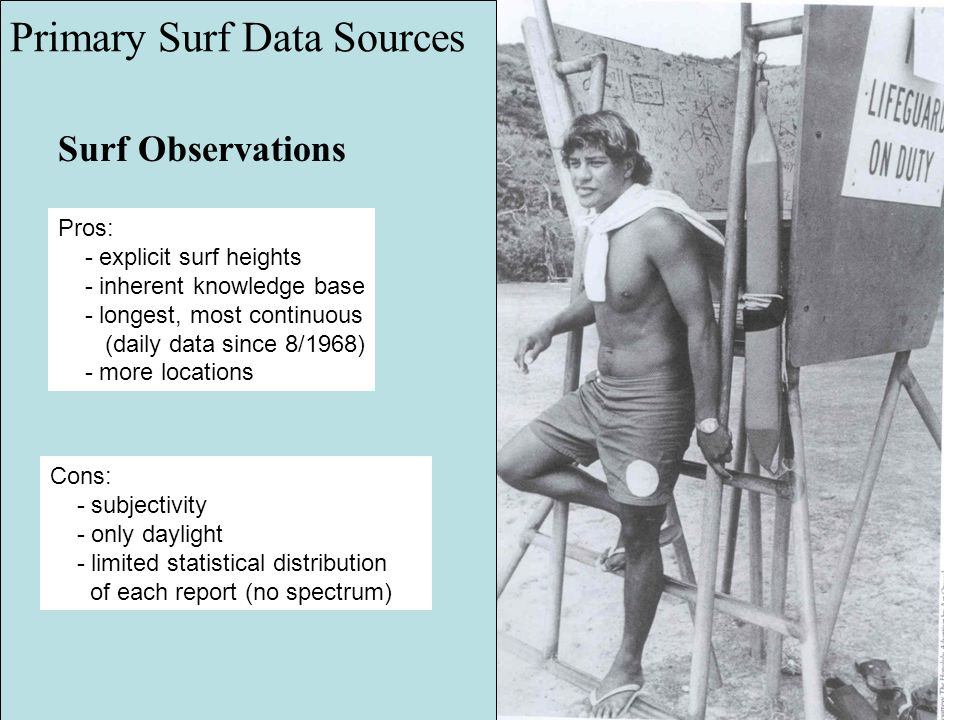 Surf Observations Primary Surf Data Sources Pros: - explicit surf heights - inherent knowledge base - longest, most continuous (daily data since 8/196
