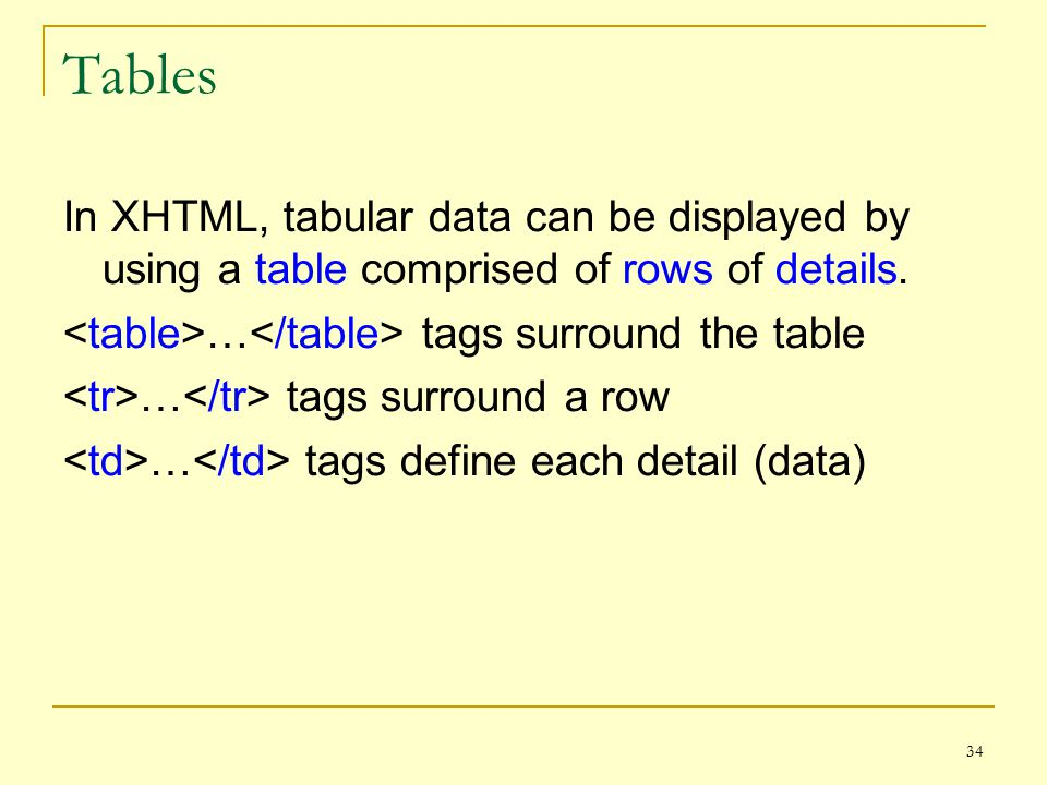 34 Tables In XHTML, tabular data can be displayed by using a table comprised of rows of details.