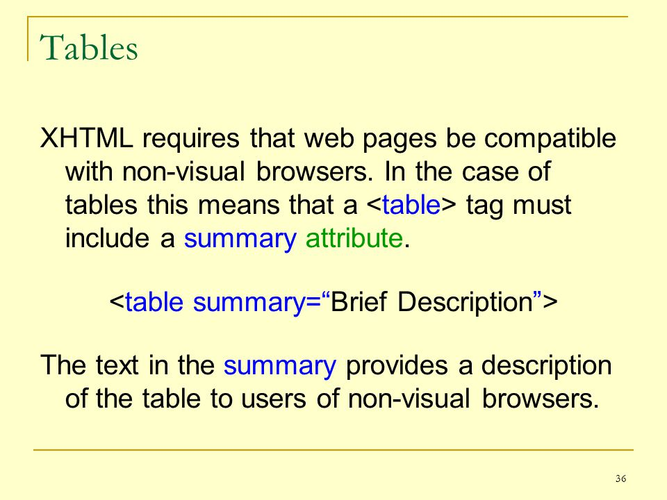 36 Tables XHTML requires that web pages be compatible with non-visual browsers.