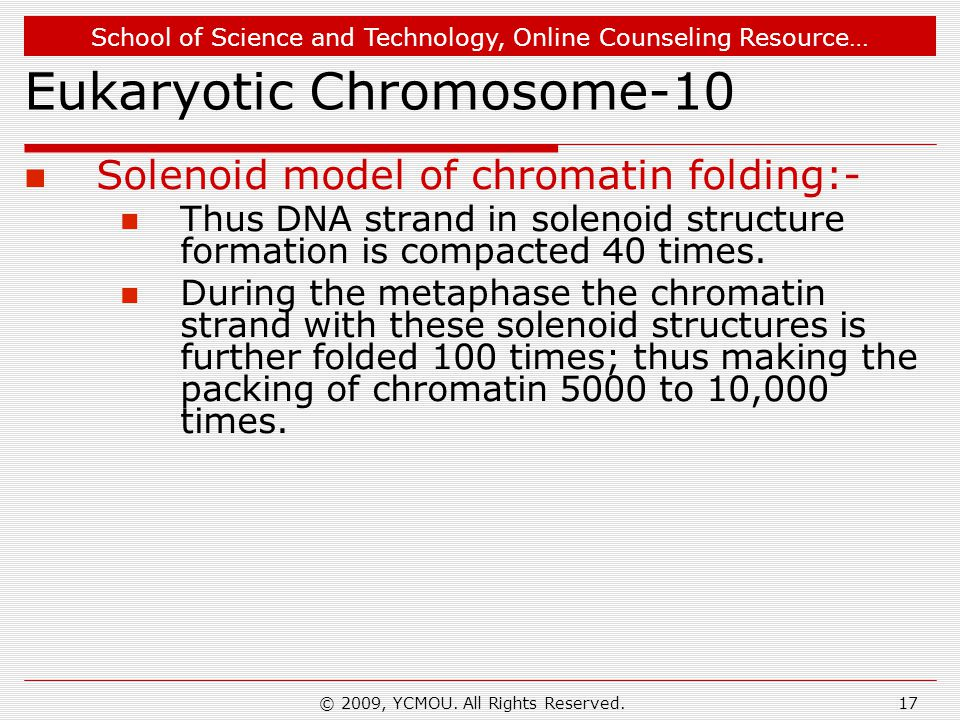 School of Science and Technology, Online Counseling Resource… © 2009, YCMOU. All Rights Reserved.17 Eukaryotic Chromosome-10 Solenoid model of chromat