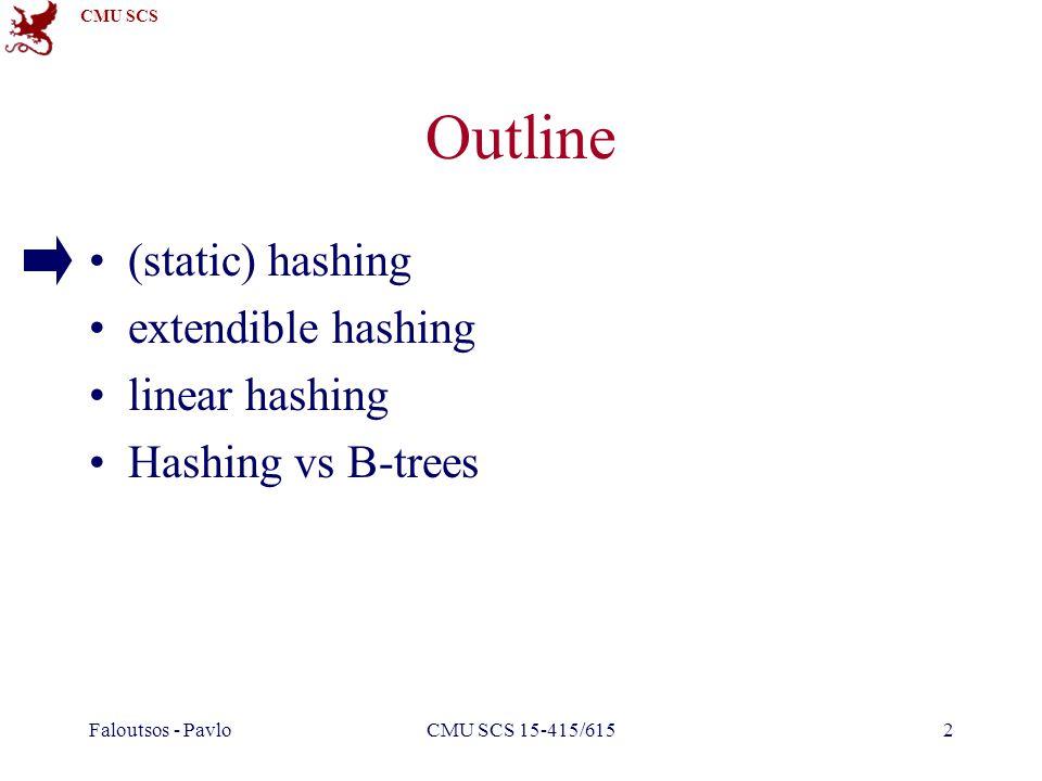 CMU SCS Faloutsos - PavloCMU SCS 15-415/6152 Outline (static) hashing extendible hashing linear hashing Hashing vs B-trees
