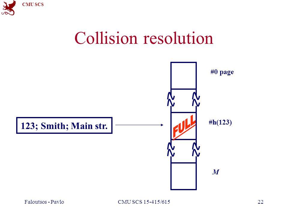 CMU SCS Faloutsos - PavloCMU SCS 15-415/61522 Collision resolution #0 page #h(123) M 123; Smith; Main str.