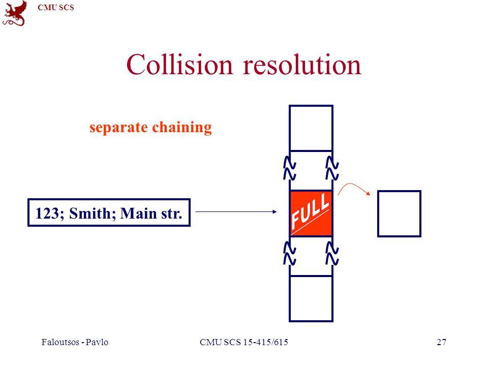 CMU SCS Faloutsos - PavloCMU SCS 15-415/61527 Collision resolution 123; Smith; Main str. separate chaining
