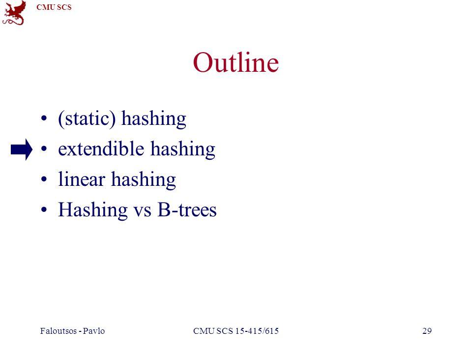 CMU SCS Faloutsos - PavloCMU SCS 15-415/61529 Outline (static) hashing extendible hashing linear hashing Hashing vs B-trees