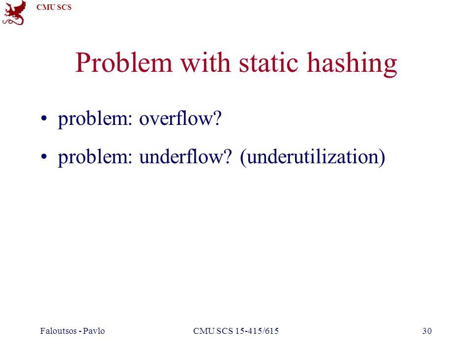 CMU SCS Faloutsos - PavloCMU SCS 15-415/61530 Problem with static hashing problem: overflow? problem: underflow? (underutilization)
