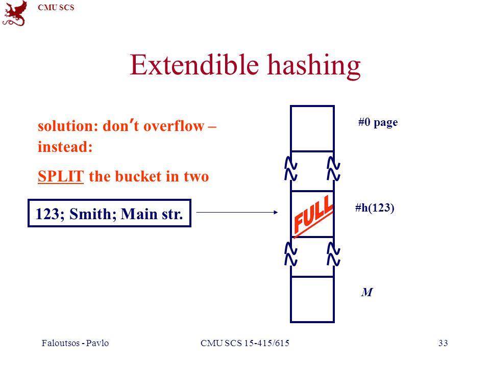 CMU SCS Faloutsos - PavloCMU SCS 15-415/61533 Extendible hashing #0 page #h(123) M 123; Smith; Main str. solution: don't overflow – instead: SPLIT the