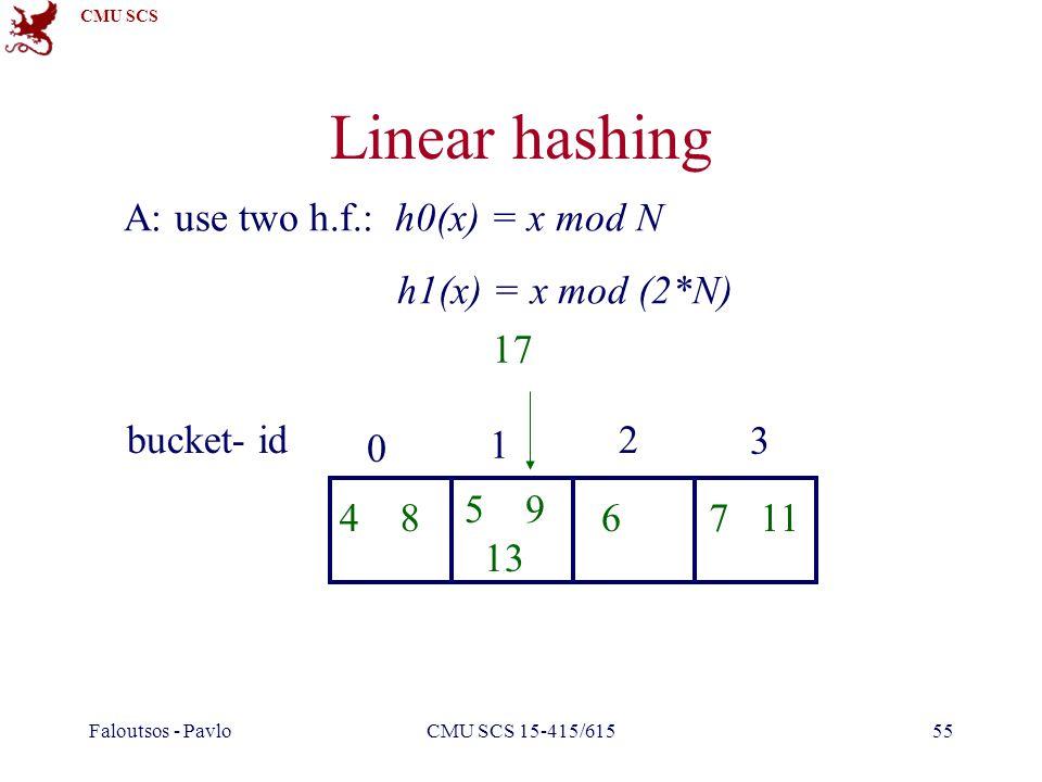 CMU SCS Faloutsos - PavloCMU SCS 15-415/61555 Linear hashing A: use two h.f.: h0(x) = x mod N h1(x) = x mod (2*N) 0 1 2 3 bucket- id 4 8 5 9 13 67 11