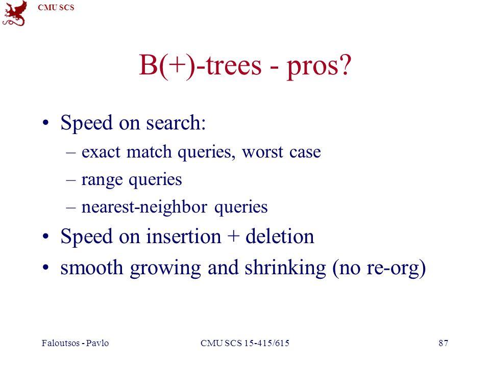 CMU SCS Faloutsos - PavloCMU SCS 15-415/61587 B(+)-trees - pros? Speed on search: –exact match queries, worst case –range queries –nearest-neighbor qu