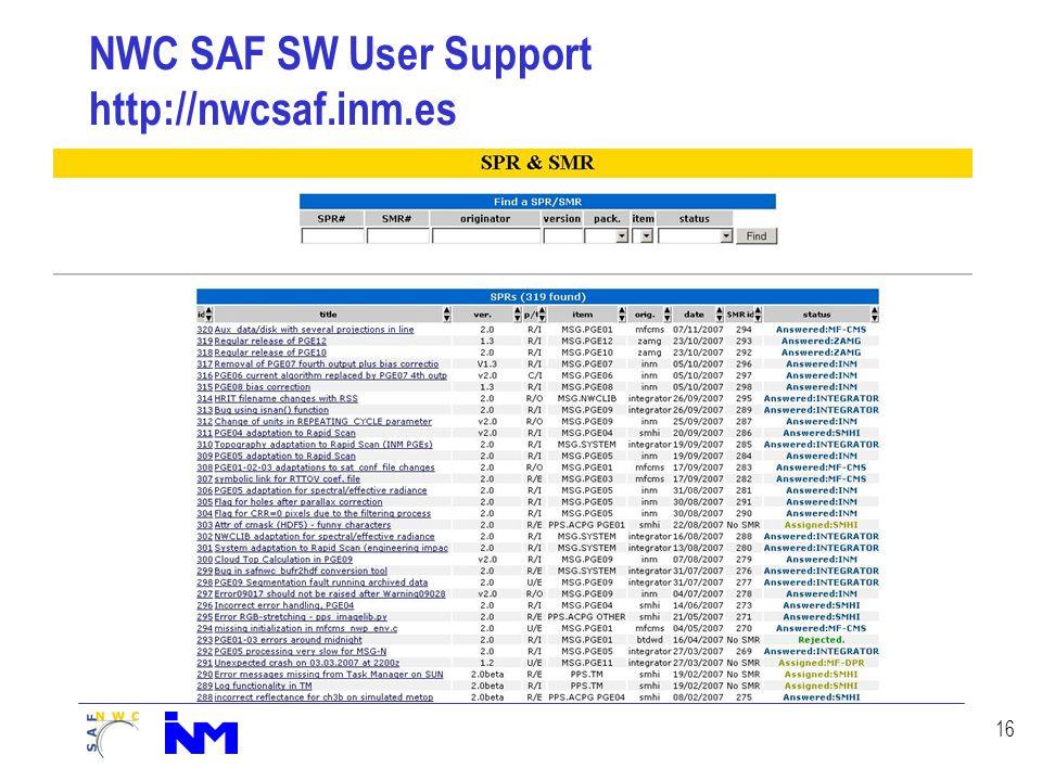 16 NWC SAF SW User Support http://nwcsaf.inm.es