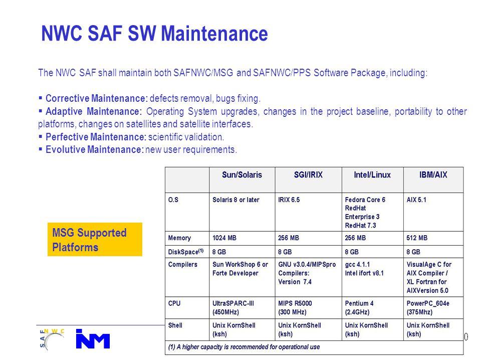 20 NWC SAF SW Maintenance MSG Supported Platforms