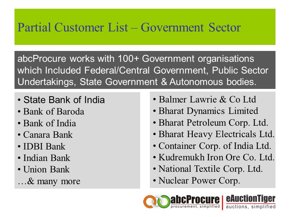 Partial Customer List – Government Sector abcProcure works with 100+ Government organisations which Included Federal/Central Government, Public Sector Undertakings, State Government & Autonomous bodies.