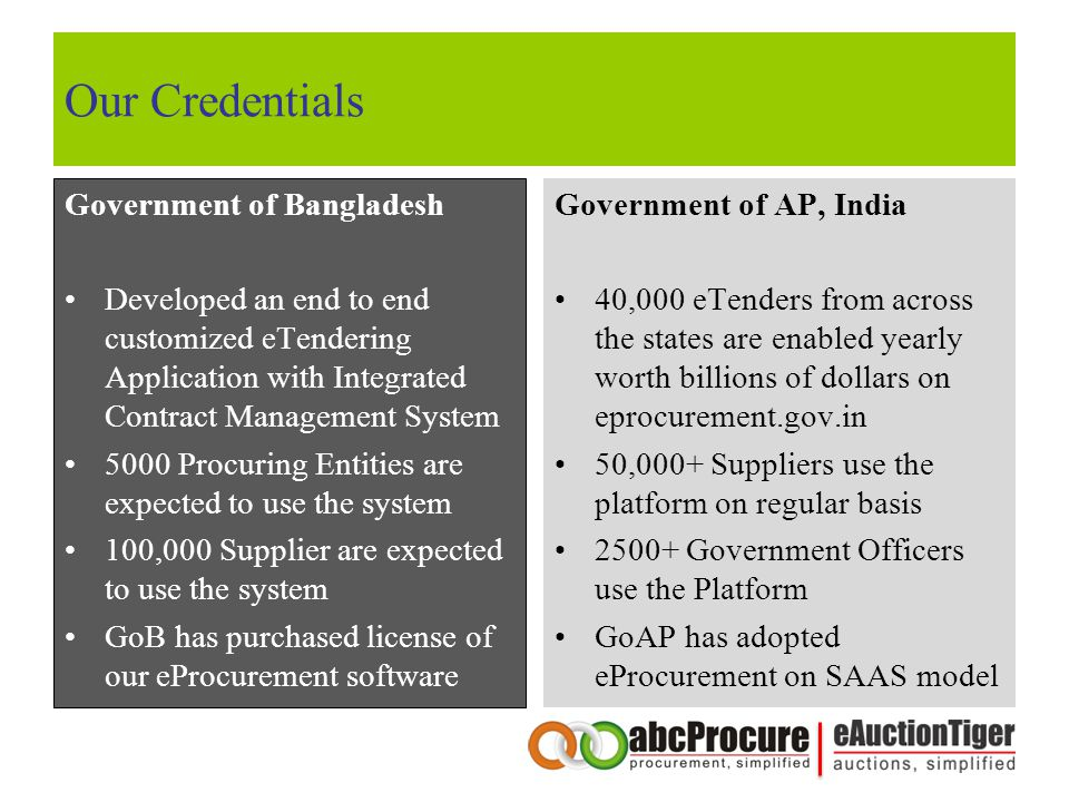 Our Credentials Government of Bangladesh Developed an end to end customized eTendering Application with Integrated Contract Management System 5000 Procuring Entities are expected to use the system 100,000 Supplier are expected to use the system GoB has purchased license of our eProcurement software Government of AP, India 40,000 eTenders from across the states are enabled yearly worth billions of dollars on eprocurement.gov.in 50,000+ Suppliers use the platform on regular basis 2500+ Government Officers use the Platform GoAP has adopted eProcurement on SAAS model