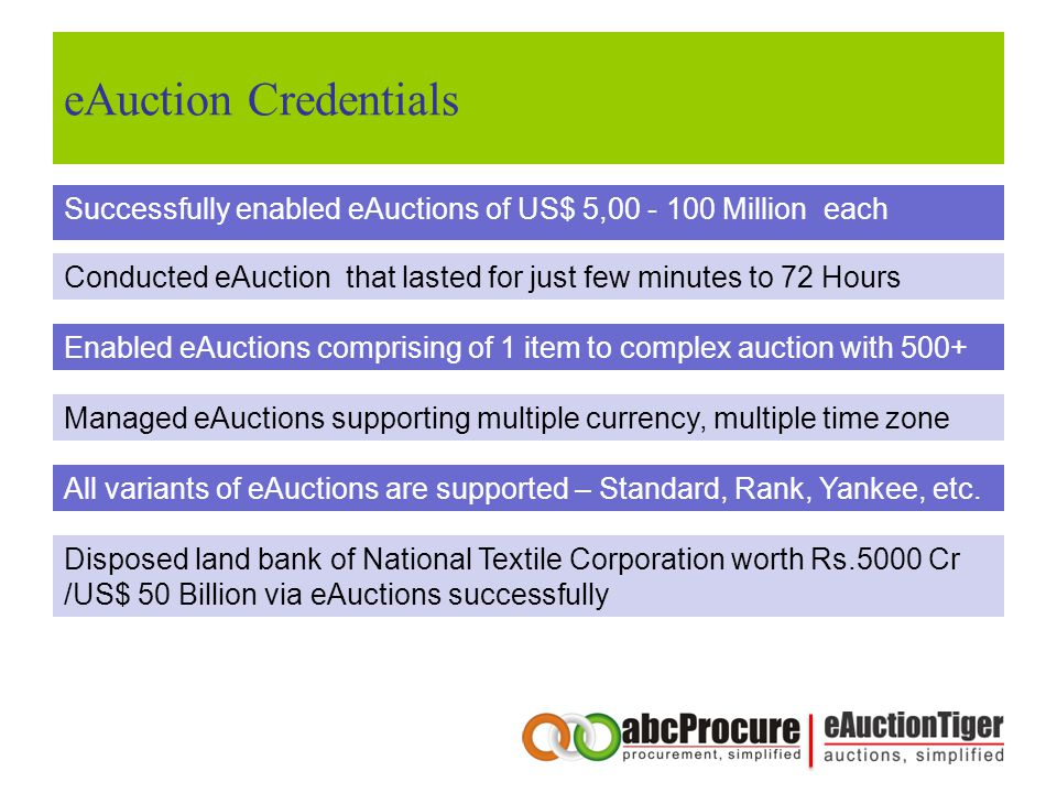 eAuction Credentials Successfully enabled eAuctions of US$ 5,00 - 100 Million each Conducted eAuction that lasted for just few minutes to 72 Hours Enabled eAuctions comprising of 1 item to complex auction with 500+ Managed eAuctions supporting multiple currency, multiple time zone All variants of eAuctions are supported – Standard, Rank, Yankee, etc.
