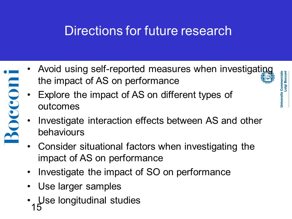 15 Directions for future research Avoid using self-reported measures when investigating the impact of AS on performance Explore the impact of AS on different types of outcomes Investigate interaction effects between AS and other behaviours Consider situational factors when investigating the impact of AS on performance Investigate the impact of SO on performance Use larger samples Use longitudinal studies
