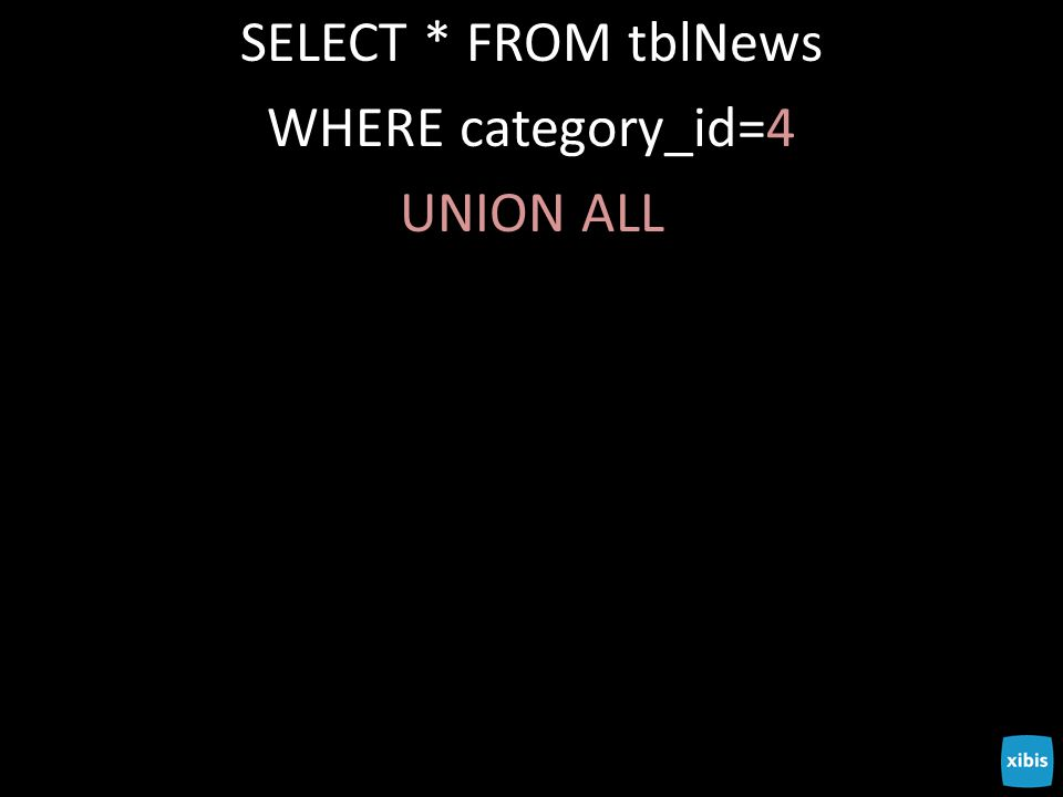 SELECT * FROM tblNews WHERE category_id=4 UNION ALL