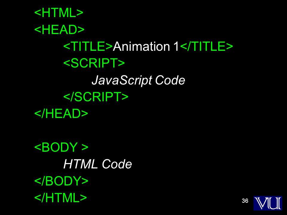 36 Animation 1 JavaScript Code HTML Code