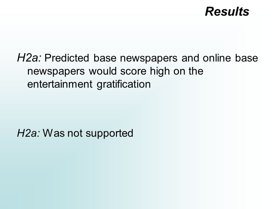 H2a: Predicted base newspapers and online base newspapers would score high on the entertainment gratification H2a: Was not supported