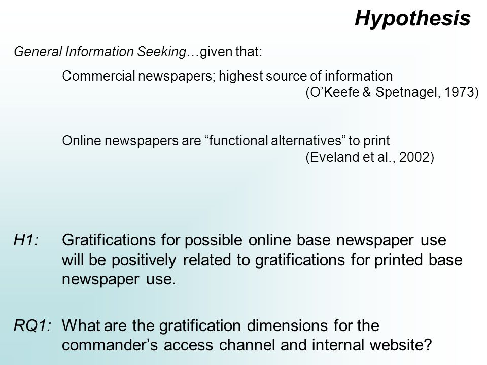 Hypothesis H1: Gratifications for possible online base newspaper use will be positively related to gratifications for printed base newspaper use.