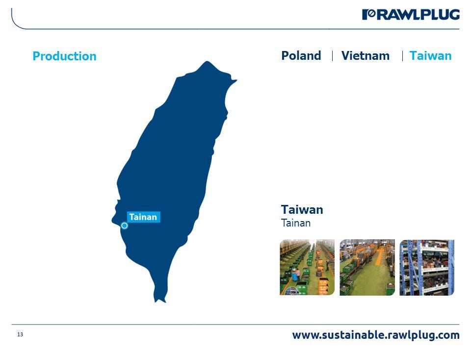 13 Production PolandVietnamTaiwan Tainan