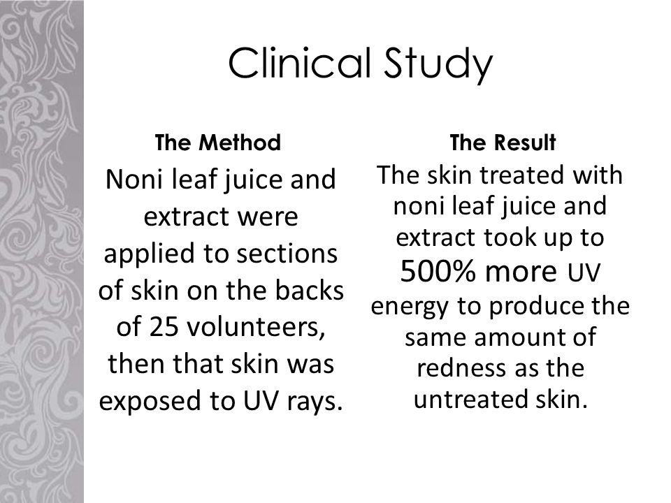 Clinical Study The Method Noni leaf juice and extract were applied to sections of skin on the backs of 25 volunteers, then that skin was exposed to UV rays.