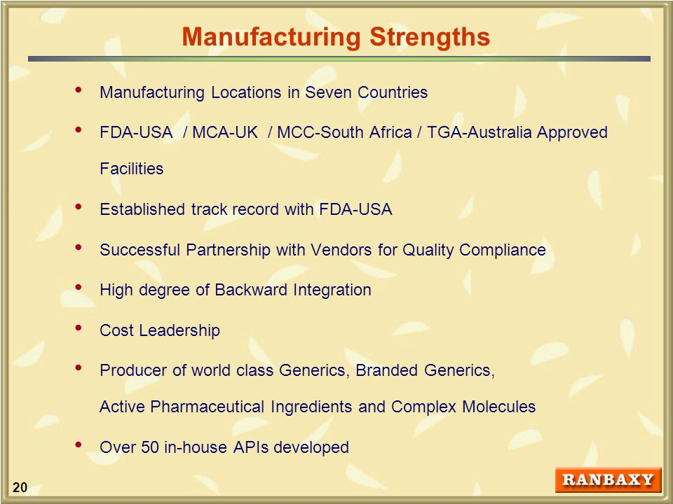 20 Manufacturing Locations in Seven Countries FDA-USA / MCA-UK / MCC-South Africa / TGA-Australia Approved Facilities Established track record with FDA-USA Successful Partnership with Vendors for Quality Compliance High degree of Backward Integration Cost Leadership Producer of world class Generics, Branded Generics, Active Pharmaceutical Ingredients and Complex Molecules Over 50 in-house APIs developed Manufacturing Strengths