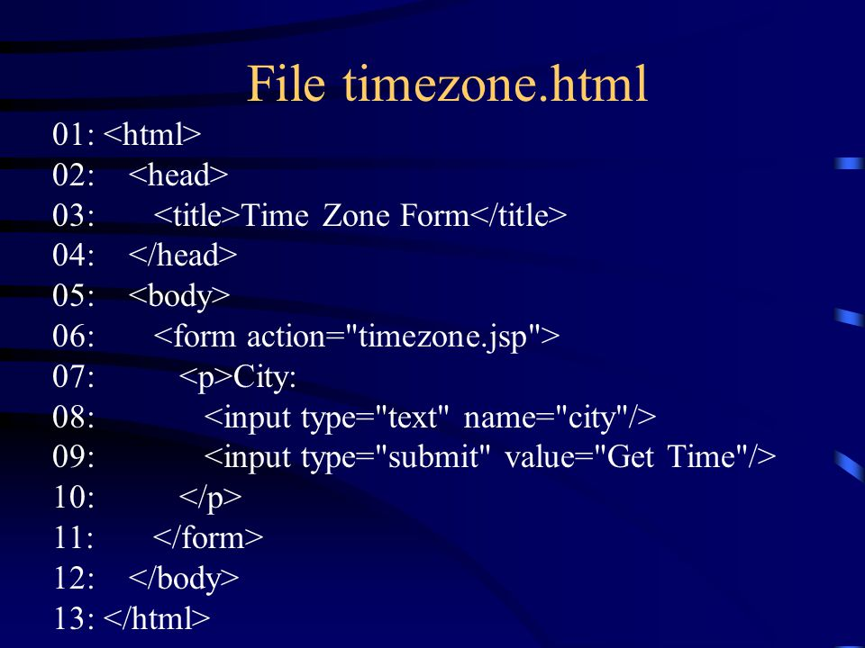 File timezone.html 01: 02: 03: Time Zone Form 04: 05: 06: 07: City: 08: 09: 10: 11: 12: 13: