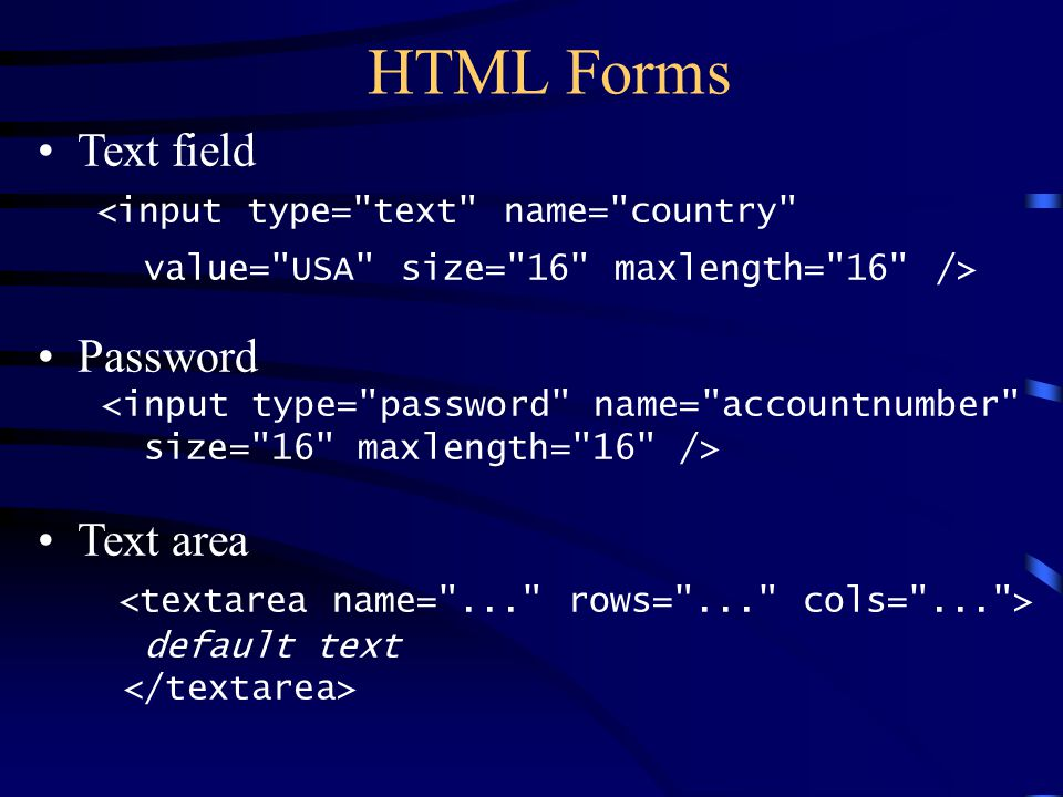 HTML Forms Text field Password Text area default text
