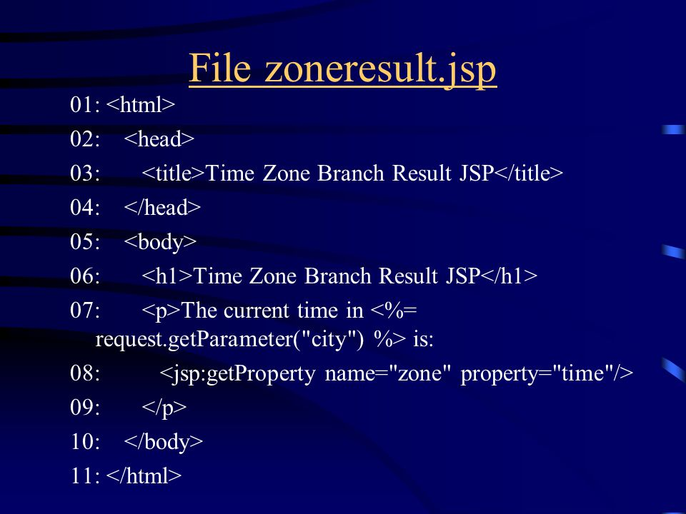 File zoneresult.jsp 01: 02: 03: Time Zone Branch Result JSP 04: 05: 06: Time Zone Branch Result JSP 07: The current time in is: 08: 09: 10: 11: