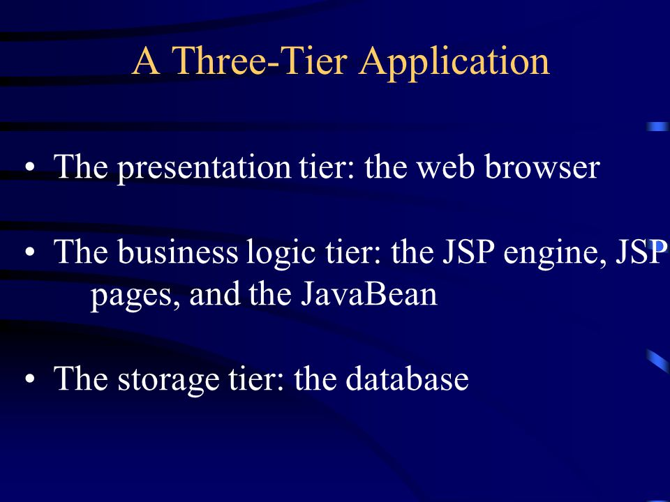 A Three-Tier Application The presentation tier: the web browser The business logic tier: the JSP engine, JSP pages, and the JavaBean The storage tier: