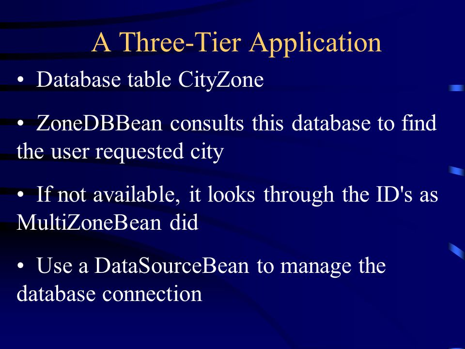 A Three-Tier Application Database table CityZone ZoneDBBean consults this database to find the user requested city If not available, it looks through