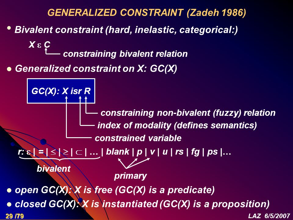 GENERALIZED CONSTRAINT (Zadeh 1986) Bivalent constraint (hard, inelastic, categorical:) X  C constraining bivalent relation GC(X): X isr R constraining non-bivalent (fuzzy) relation index of modality (defines semantics) constrained variable Generalized constraint on X: GC(X) r:  | = |  |  |  | … | blank | p | v | u | rs | fg | ps |… bivalent primary open GC(X): X is free (GC(X) is a predicate) closed GC(X): X is instantiated (GC(X) is a proposition) 29 /79LAZ 6/5/2007