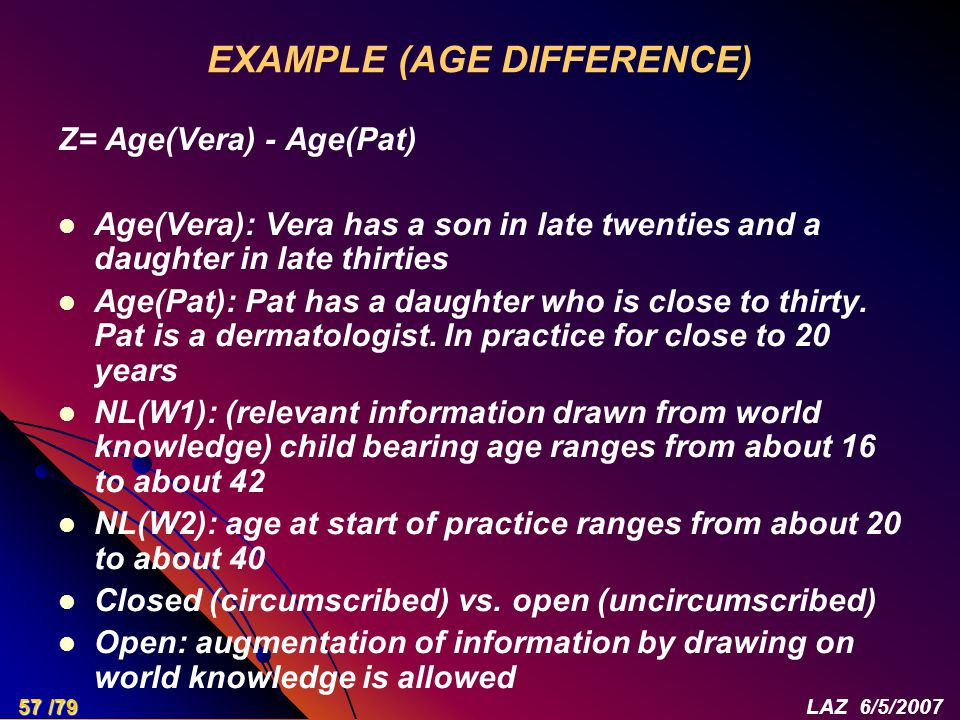EXAMPLE (AGE DIFFERENCE) Z= Age(Vera) - Age(Pat) Age(Vera): Vera has a son in late twenties and a daughter in late thirties Age(Pat): Pat has a daught