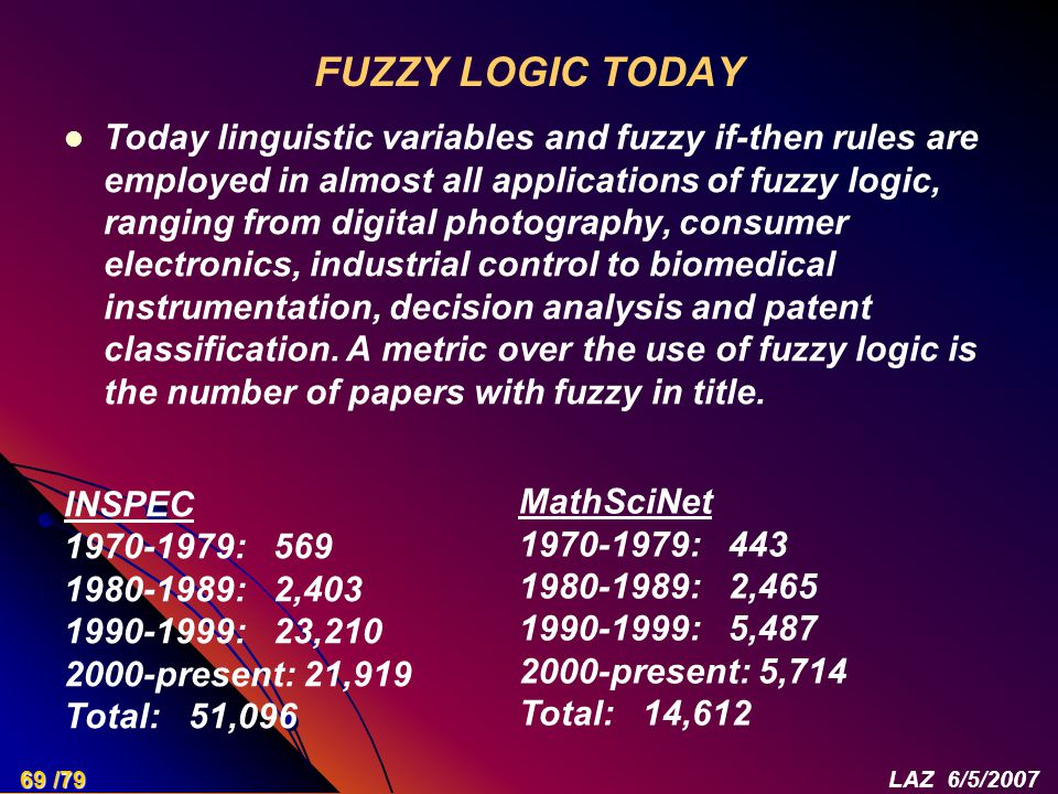 FUZZY LOGIC TODAY Today linguistic variables and fuzzy if-then rules are employed in almost all applications of fuzzy logic, ranging from digital phot