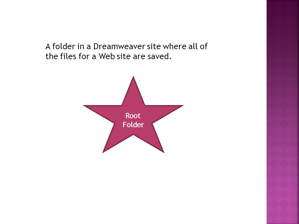 A folder in a Dreamweaver site where all of the files for a Web site are saved. Root Folder